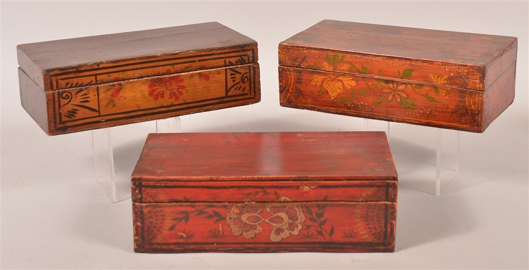 3 Chinese Paint Decorated Wood Sewing Boxes.