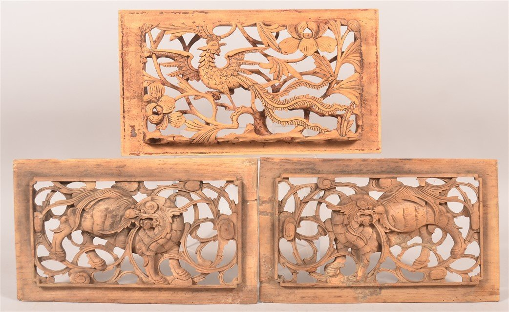 3 Antique Chinese Pierced Carved Wood Panels.