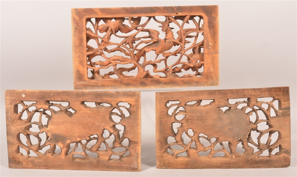 3 Antique Chinese Pierced Carved Wood Panels. - 2