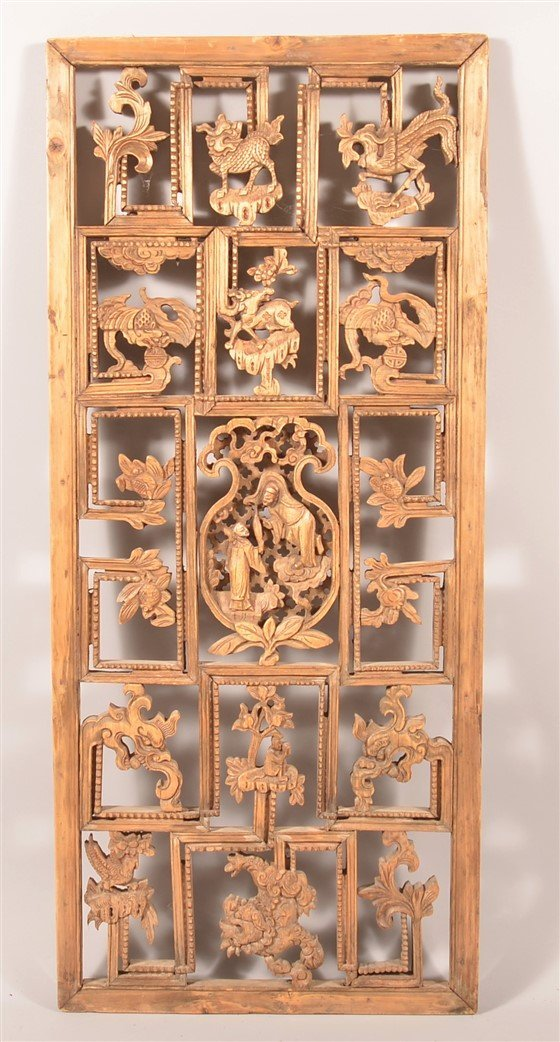 Antique Chinese Pierce Carved Wood Panel.
