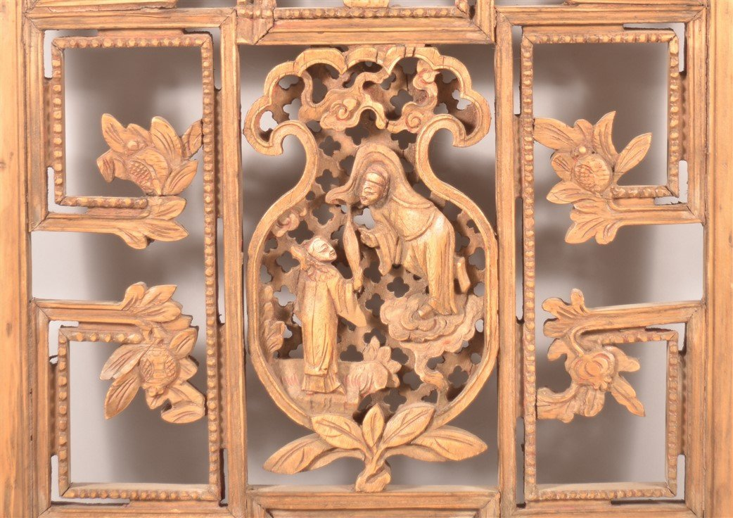 Antique Chinese Pierce Carved Wood Panel. - 2