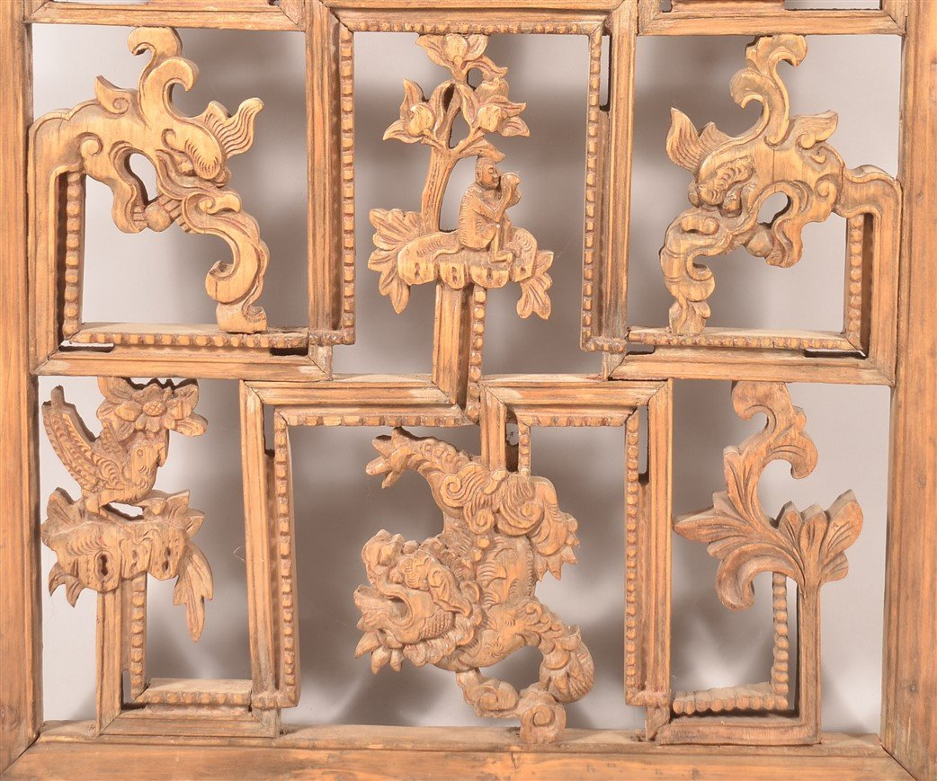 Antique Chinese Pierce Carved Wood Panel. - 4