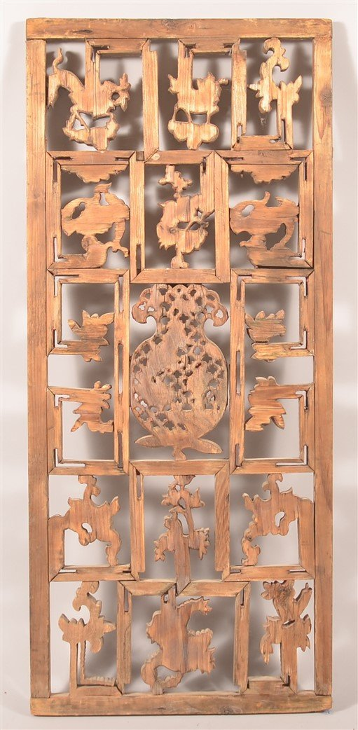 Antique Chinese Pierce Carved Wood Panel. - 5