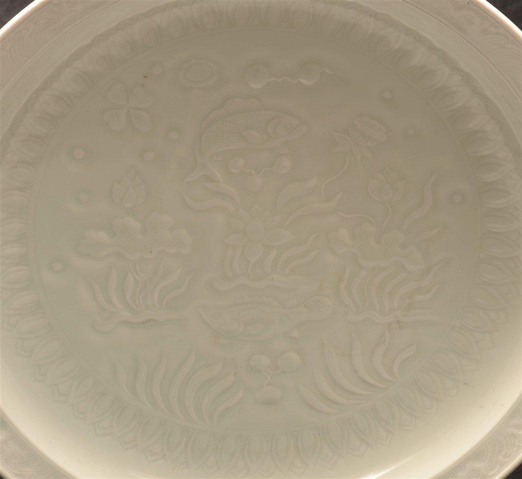 Antique White Celadon Porcelain charger. - 2