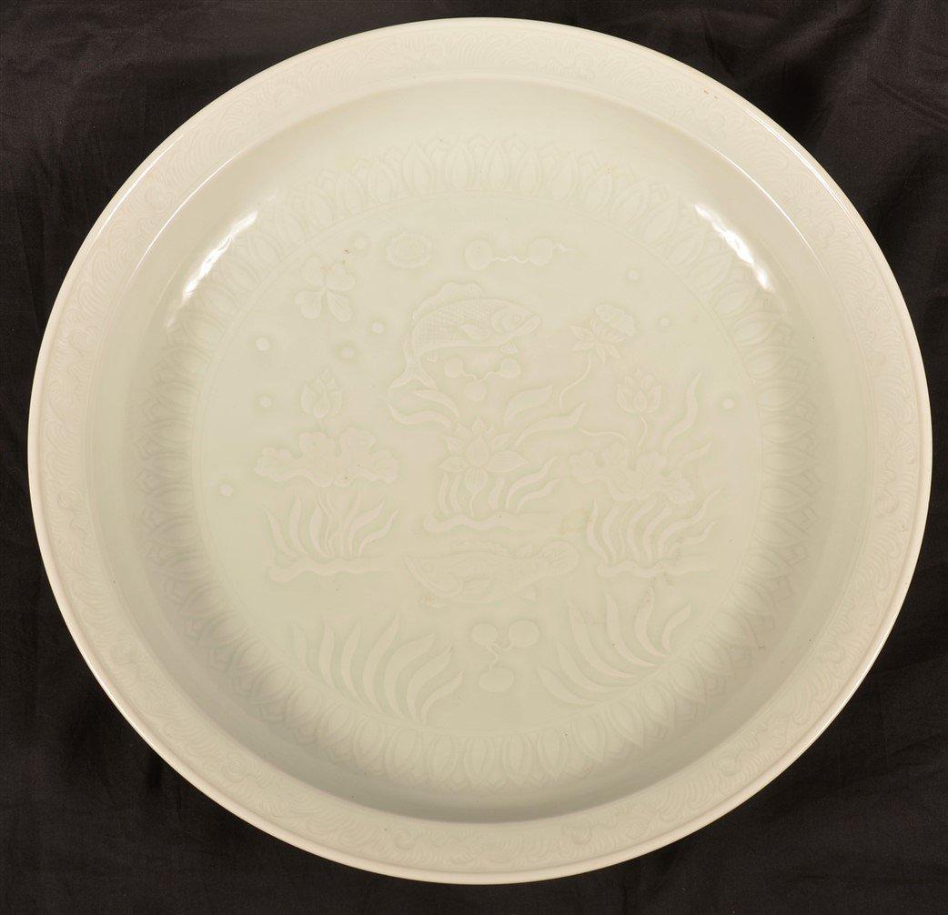 Antique White Celadon Porcelain charger. - 6