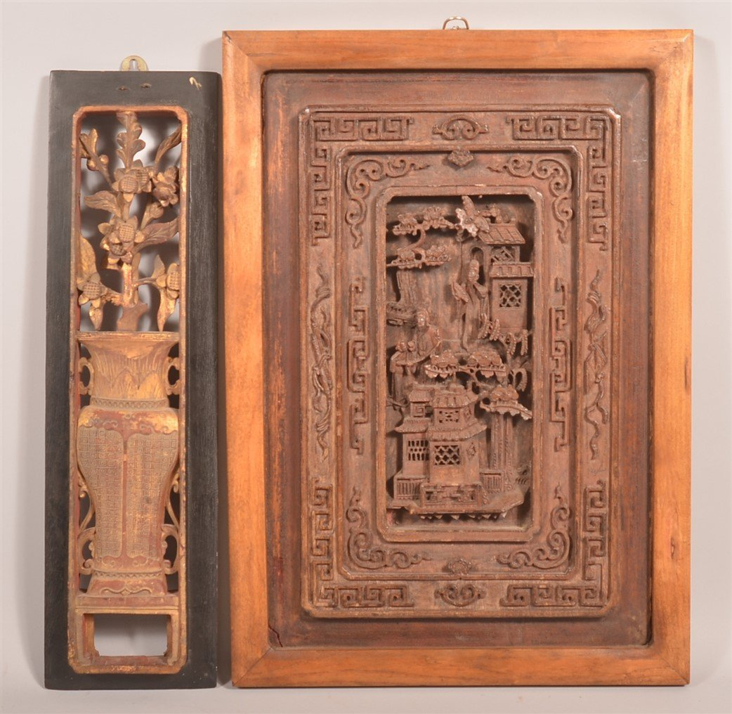 Two Antique Chinese Carved Camphor Wood Panels.