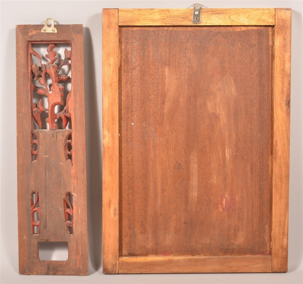 Two Antique Chinese Carved Camphor Wood Panels. - 2