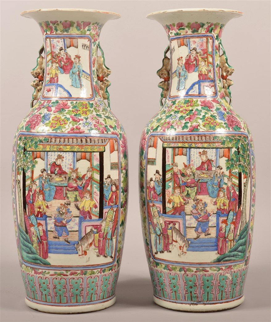 Pair of Chinese Famille Rose Palace Vases.