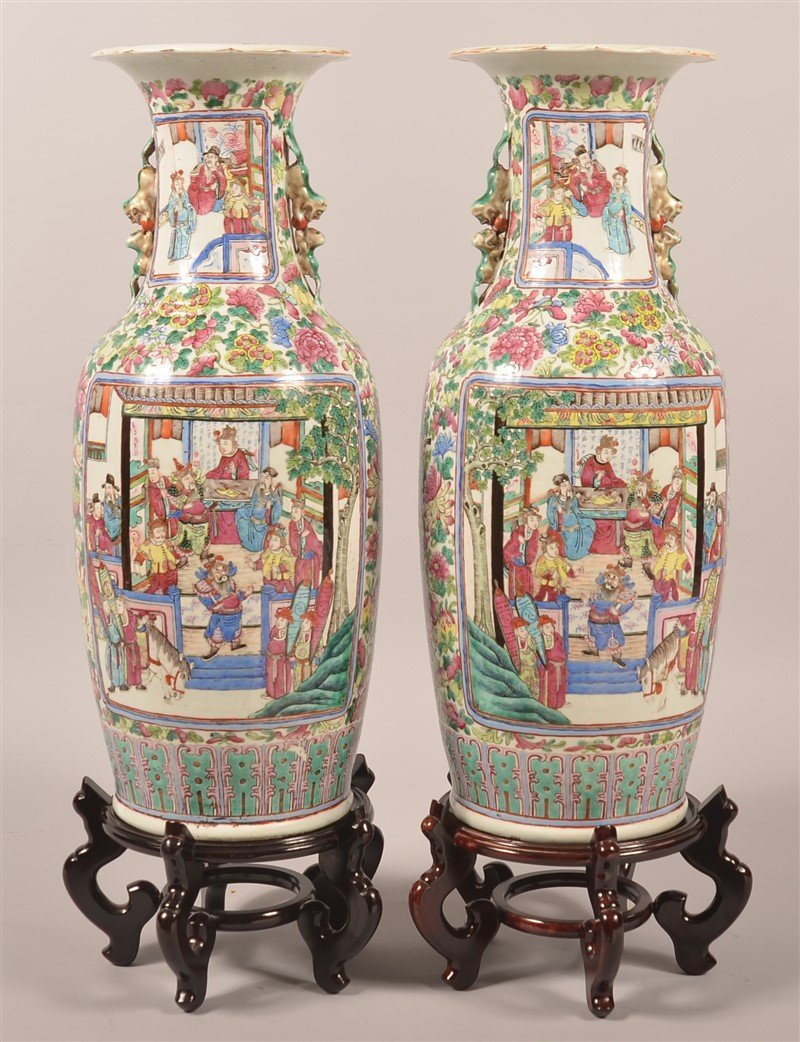 Pair of Chinese Famille Rose Palace Vases. - 2