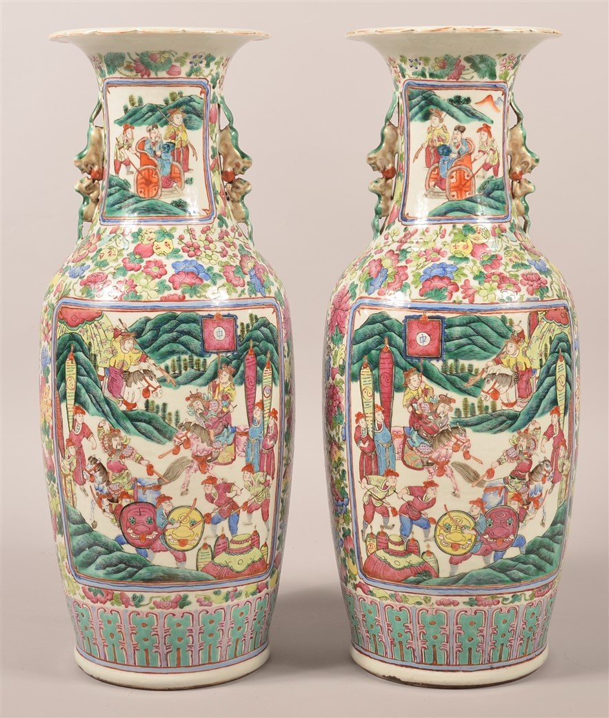 Pair of Chinese Famille Rose Palace Vases. - 5