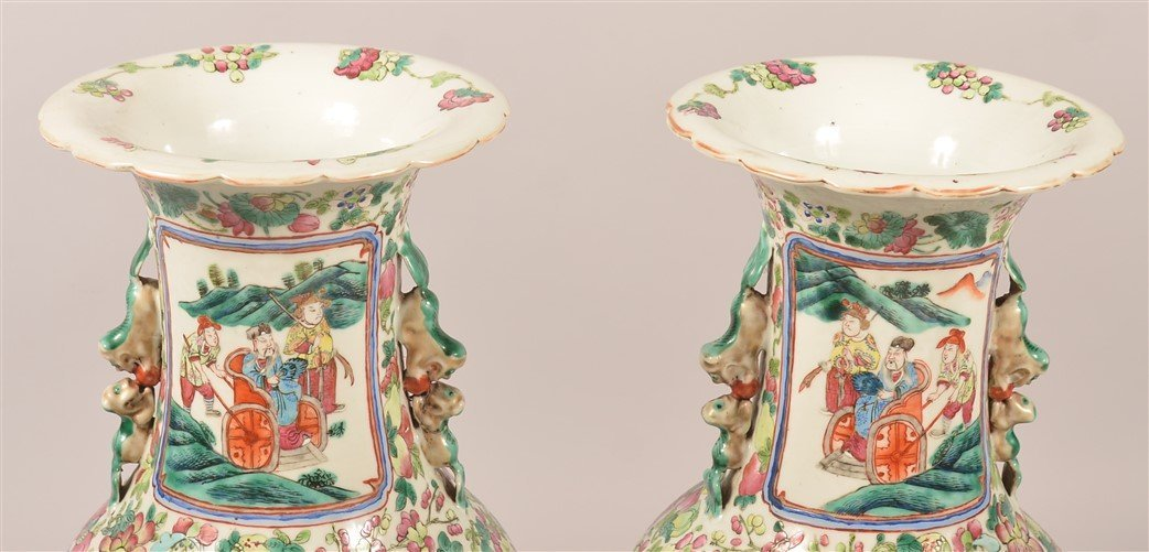 Pair of Chinese Famille Rose Palace Vases. - 6