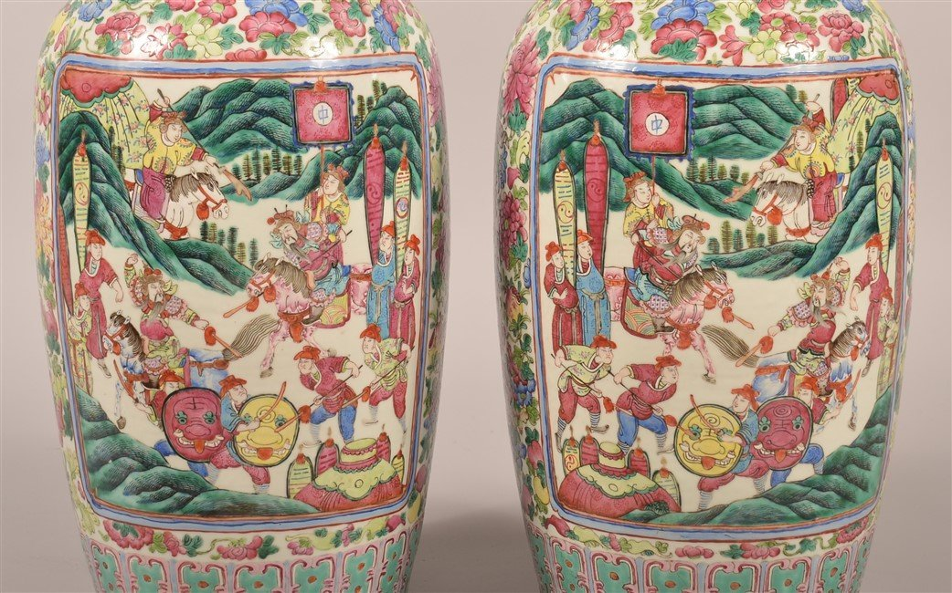 Pair of Chinese Famille Rose Palace Vases. - 7