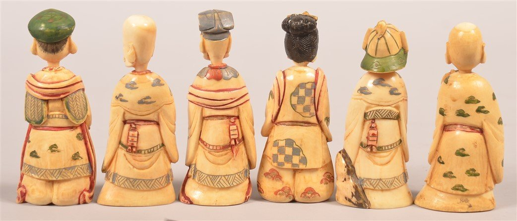 6 Chinese Carved & Painted Figural Snuff Bottles. - 2