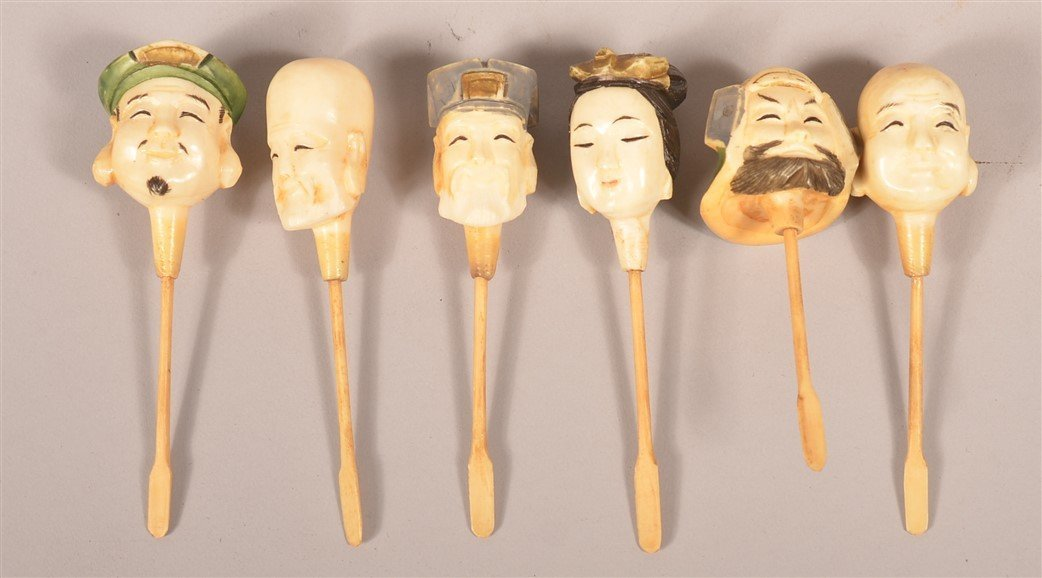 6 Chinese Carved & Painted Figural Snuff Bottles. - 3