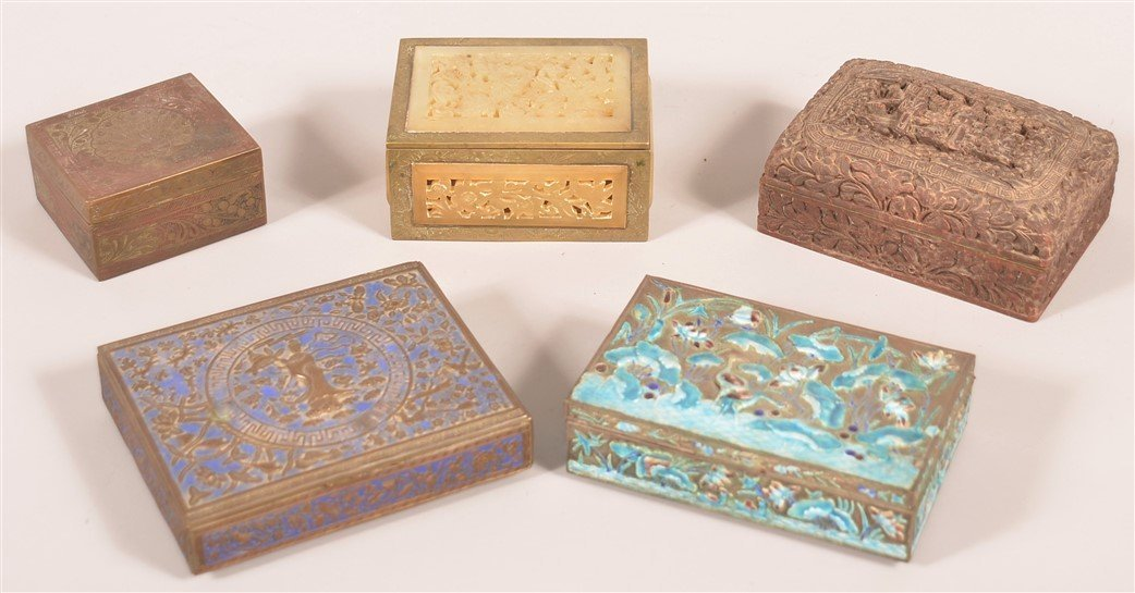 Five Various Antique and Vintage Chinese Wood, Metal