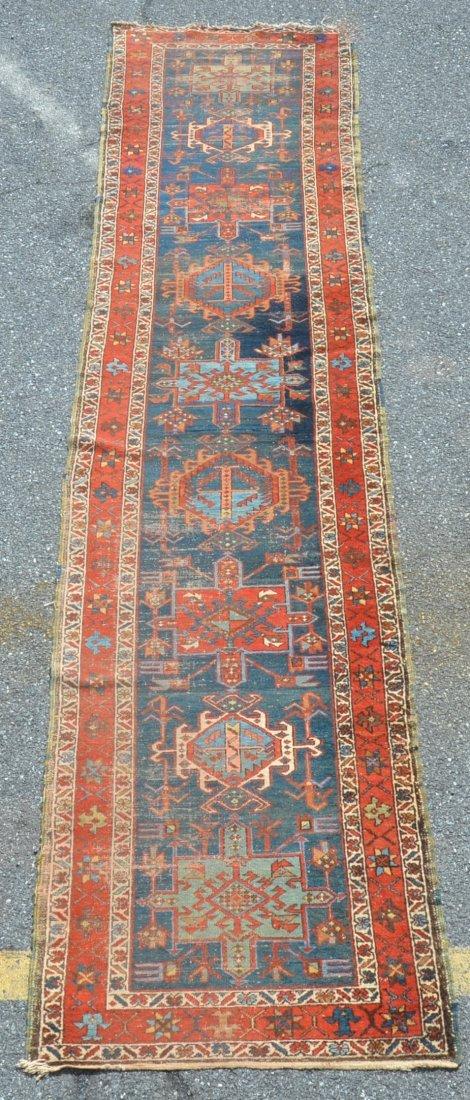 Antique Geometric Pattern Oriental Runner.