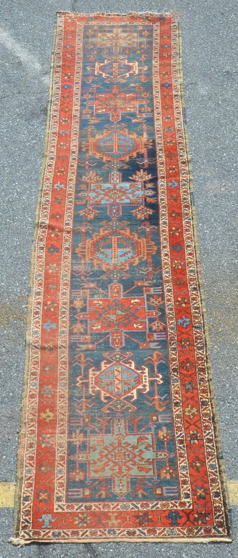 Antique Geometric Pattern Oriental Runner.