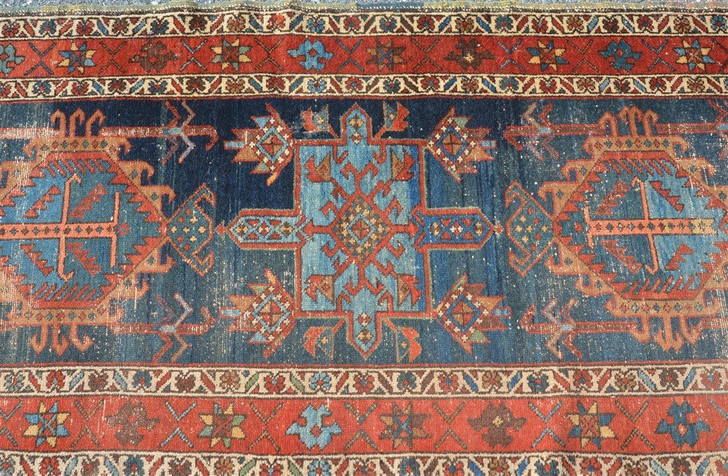 Antique Geometric Pattern Oriental Runner. - 4