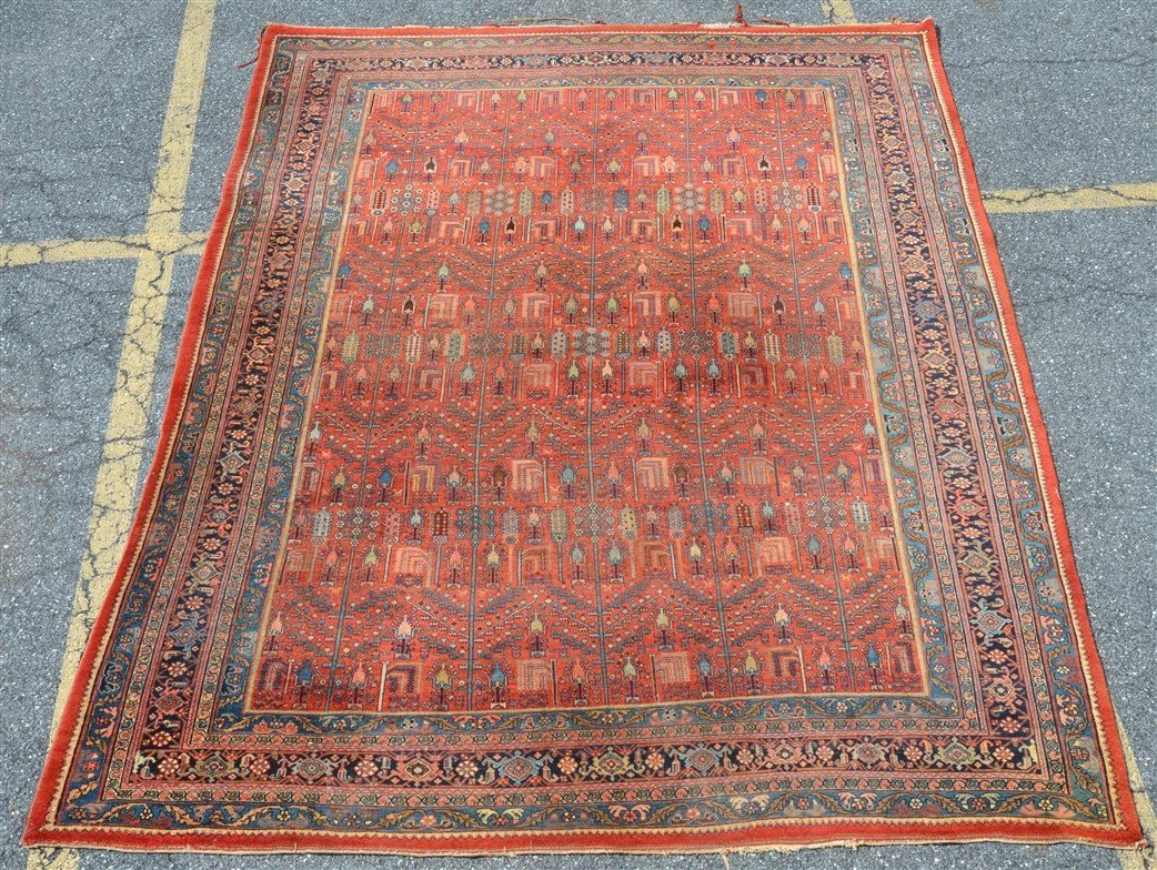 Antique Floral Pattern Room Size Oriental Rug.