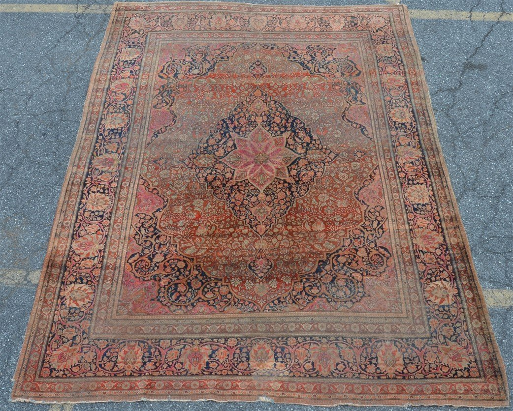 Antique Center Medallion Oriental Room Size Rug.