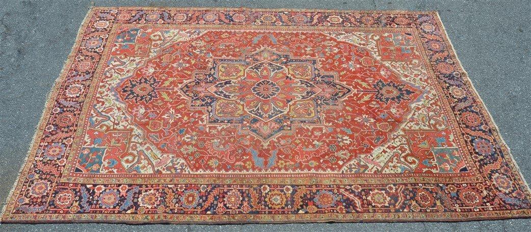 Antique Heriz Pattern Room Size Oriental Rug.