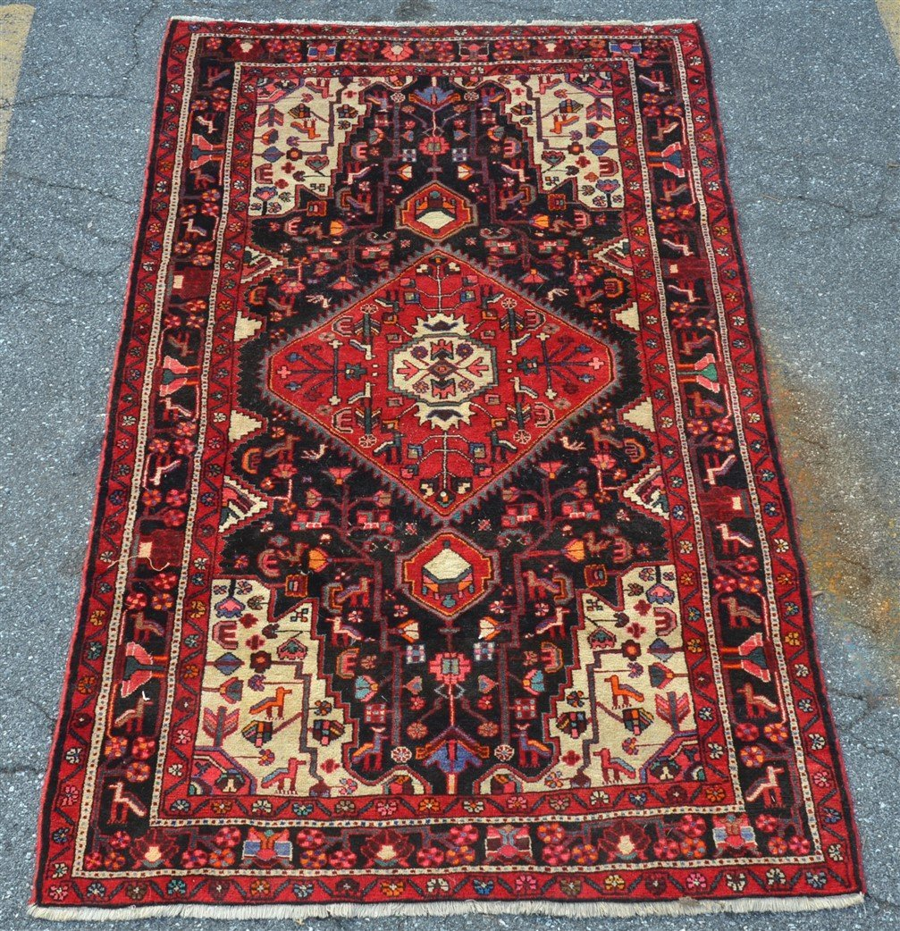 Vintage Geometric Center Medallion Oriental Area Rug.