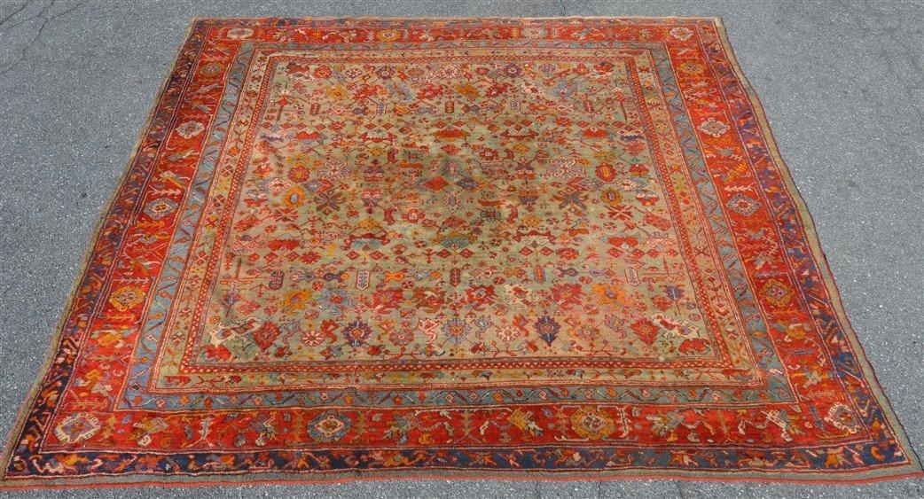 Antique Floral Pattern Oriental Room Size Rug.