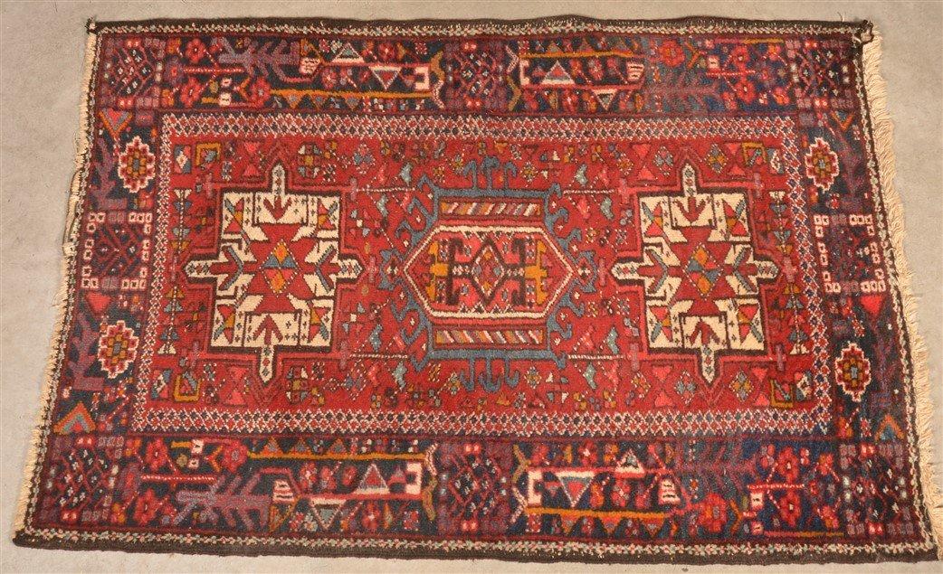 Vintage Geometric Oriental Area Rug.