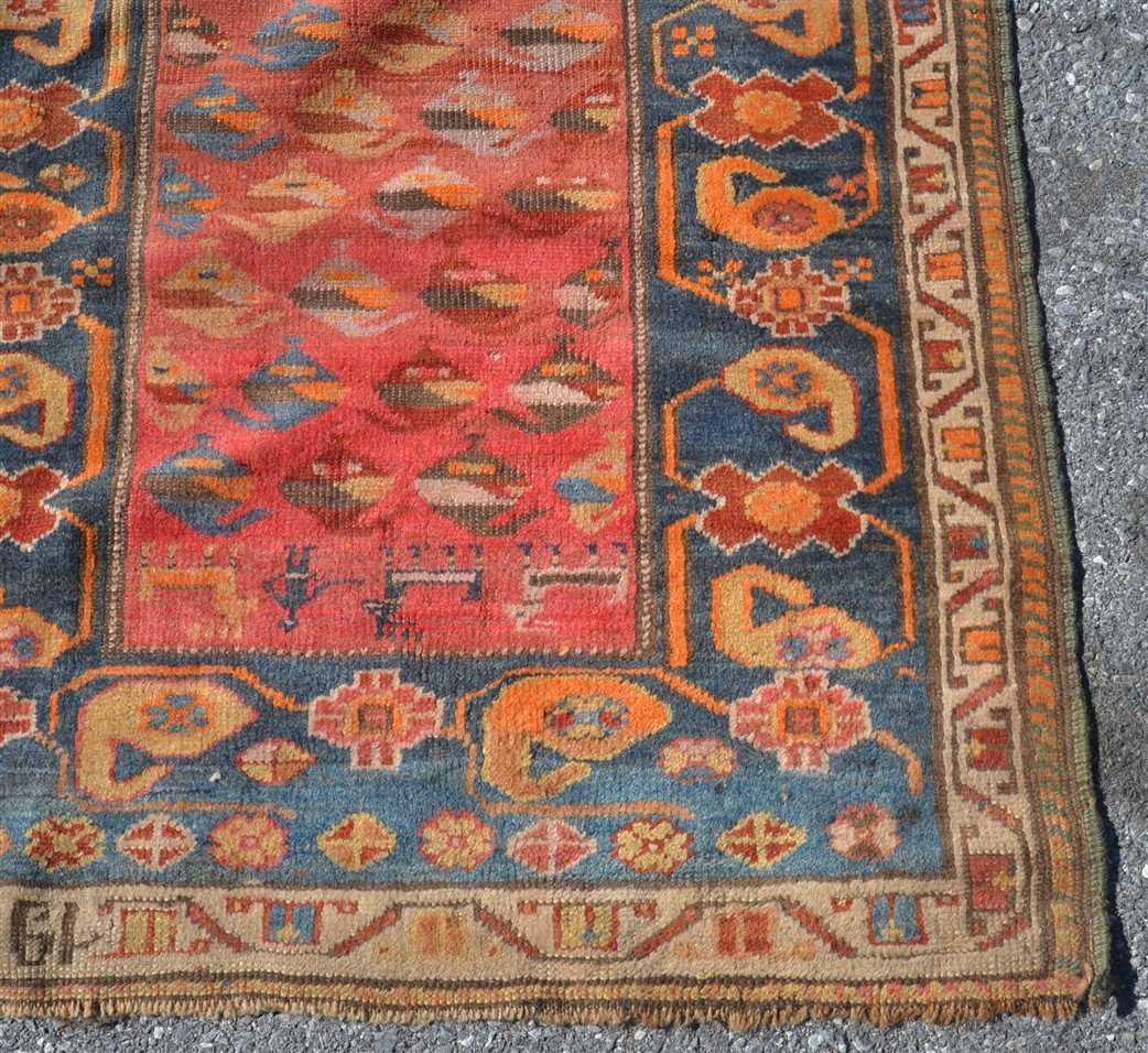 Antique Geometric Pattern Oriental Area Rug. - 2