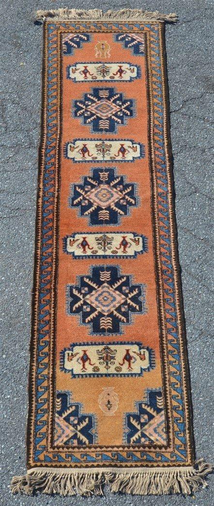 Vintage Geometric Pattern Oriental Runner.