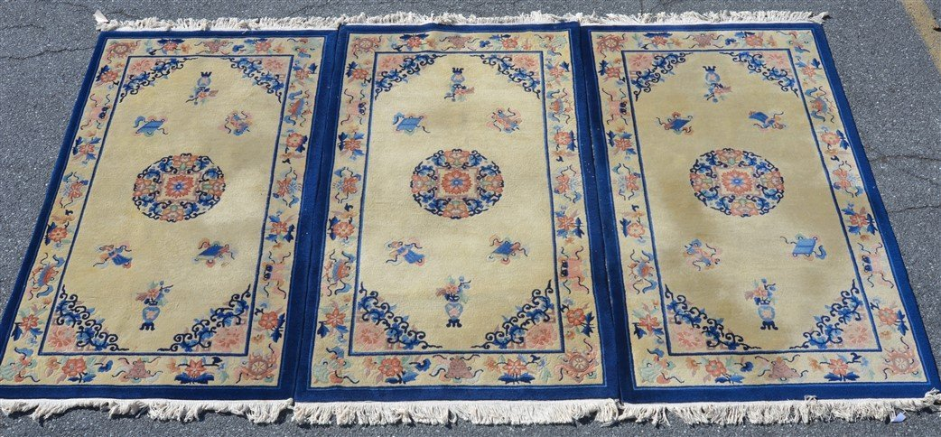 Three Medallion Chinese Pattern Oriental Area Rugs.