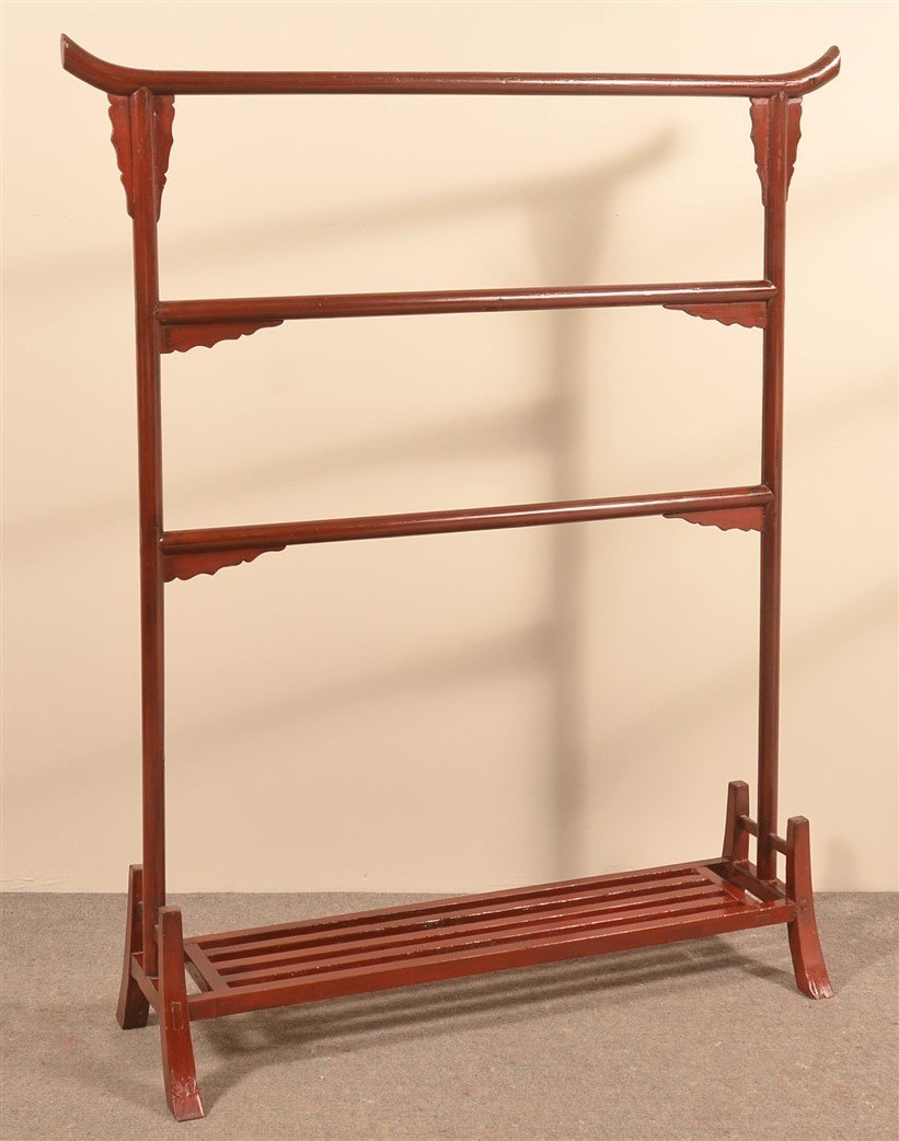 Antique Chinese Red Painted Clothes Rack.
