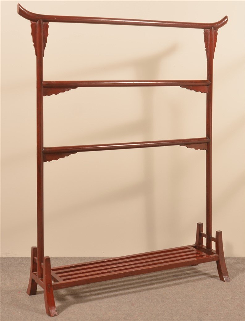 Antique Chinese Red Painted Clothes Rack. - 2