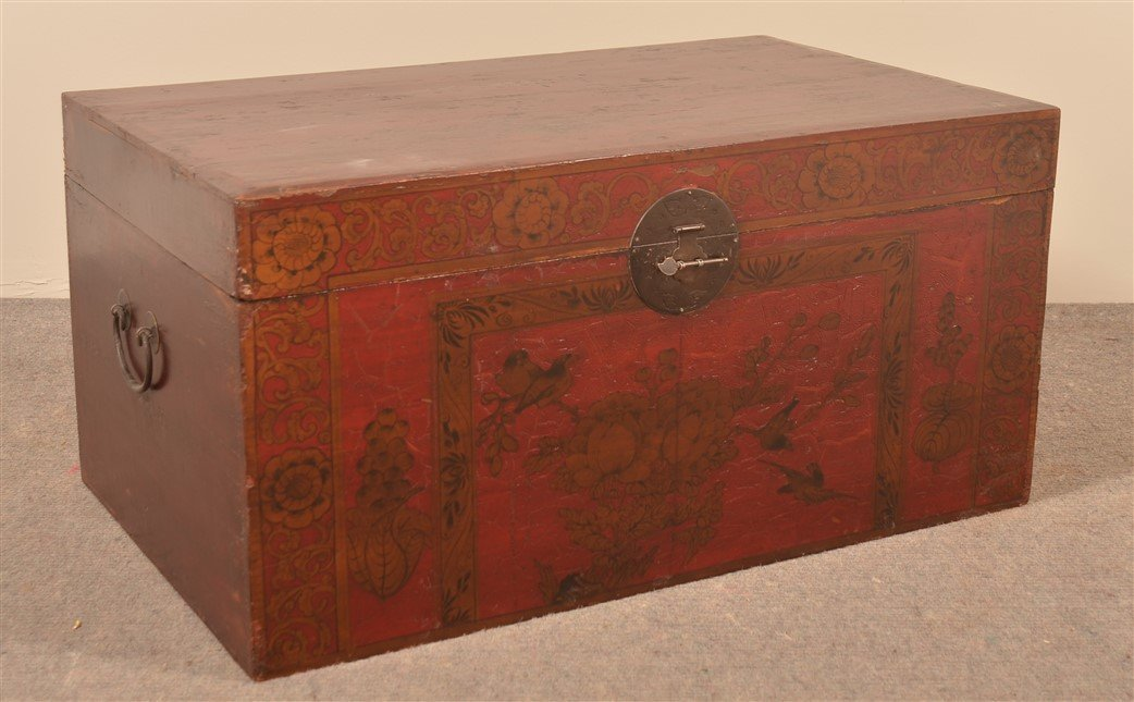 Vintage Chinese Red Lacquered Storage Chest.