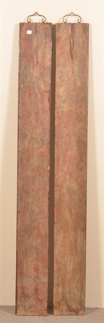 Pair of Chinese Red Lacquered Vertical Signs. - 2