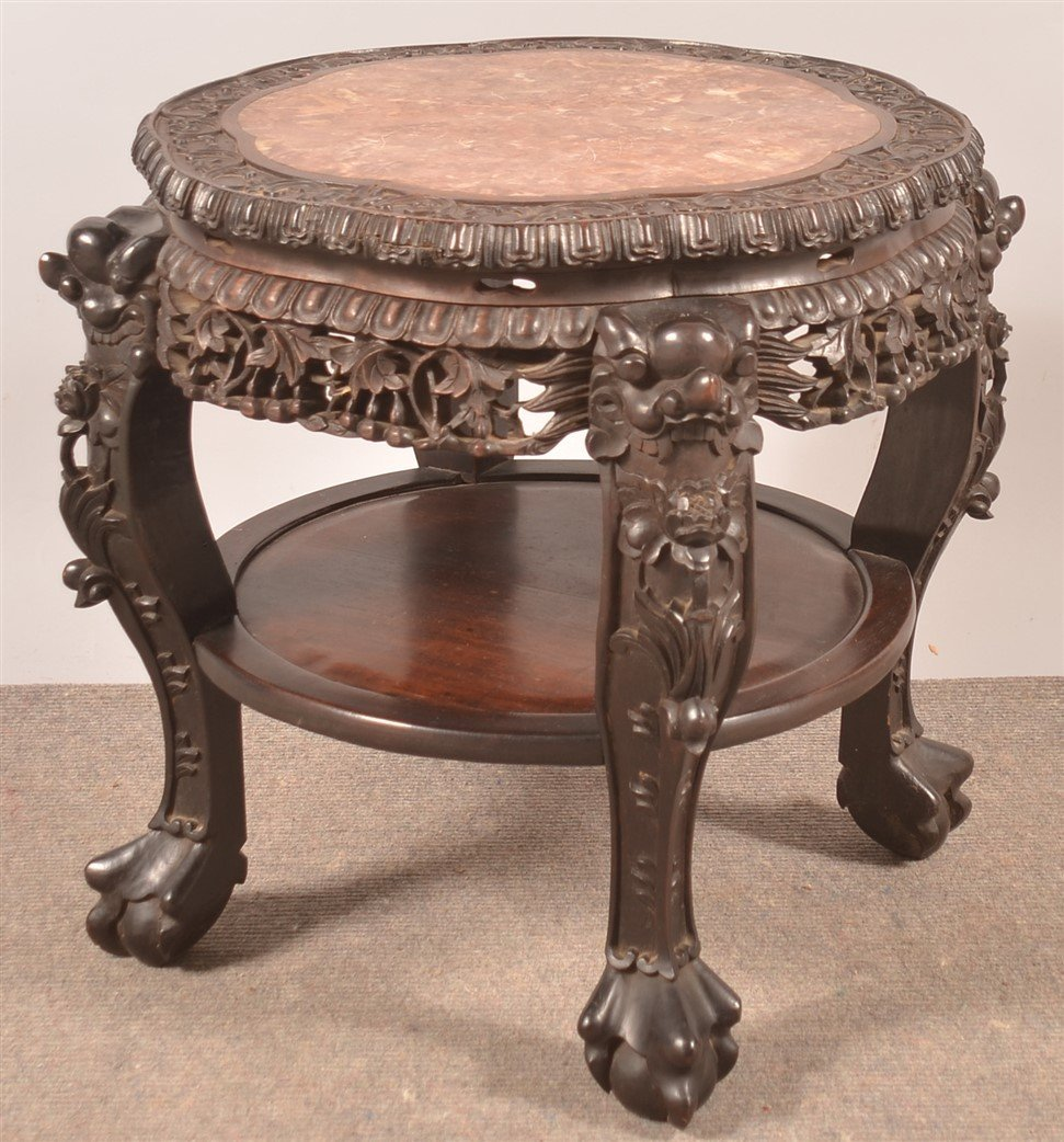 Chinese Rosewood Carved Marble Top Stand.