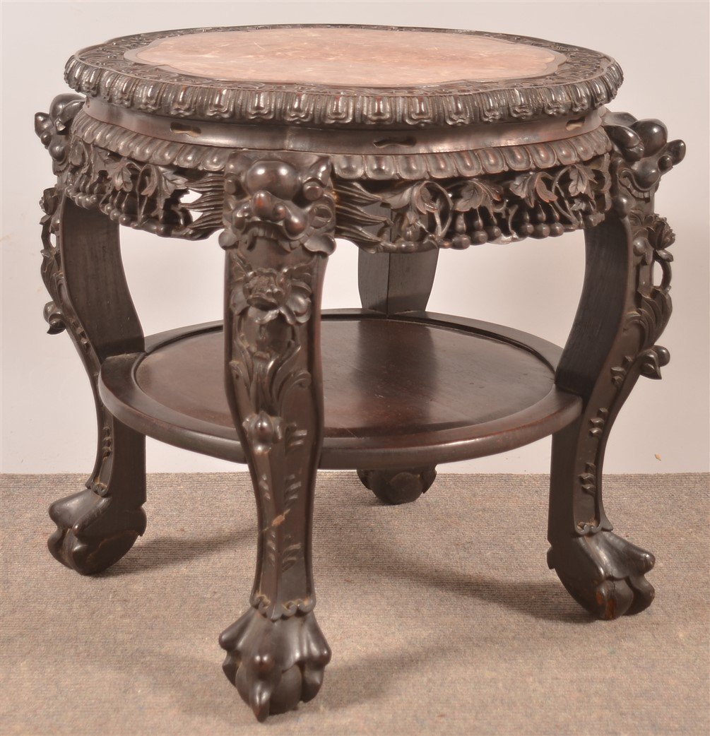 Chinese Rosewood Carved Marble Top Stand. - 3