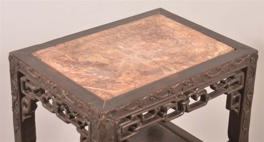 Chinese Rosewood Carved Marble Top Stand. - 2