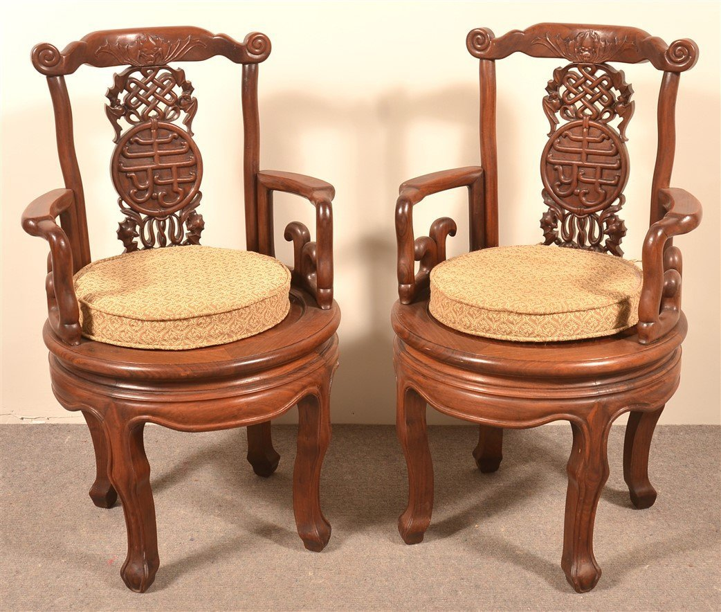 2 Vintage Chinese Carved Rosewood Armchairs.