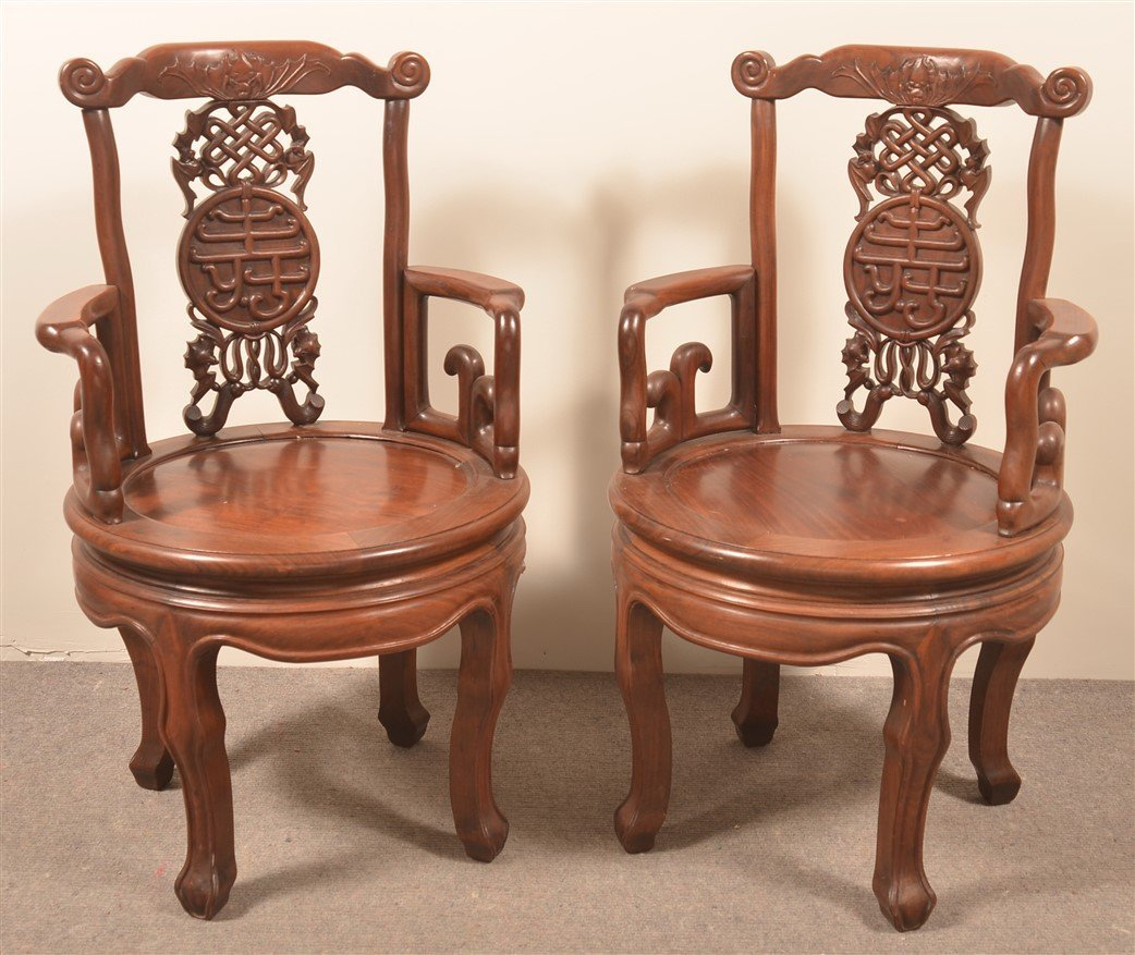 2 Vintage Chinese Carved Rosewood Armchairs. - 2