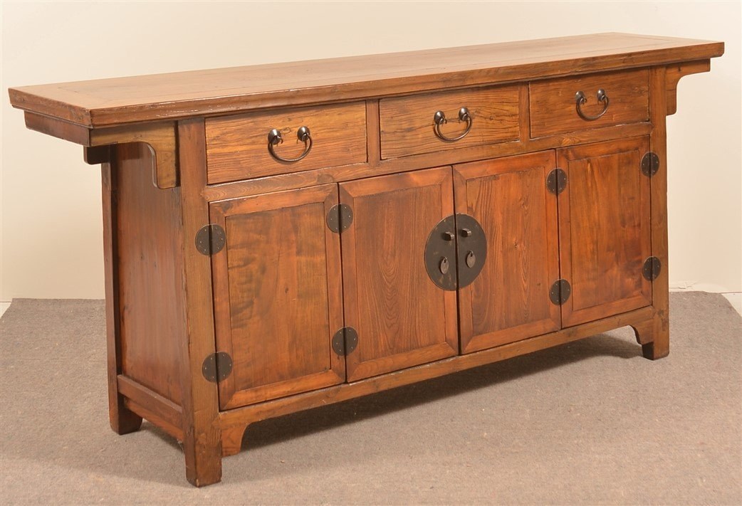 Mid 19th Century Chinese Elmwood Sideboard.