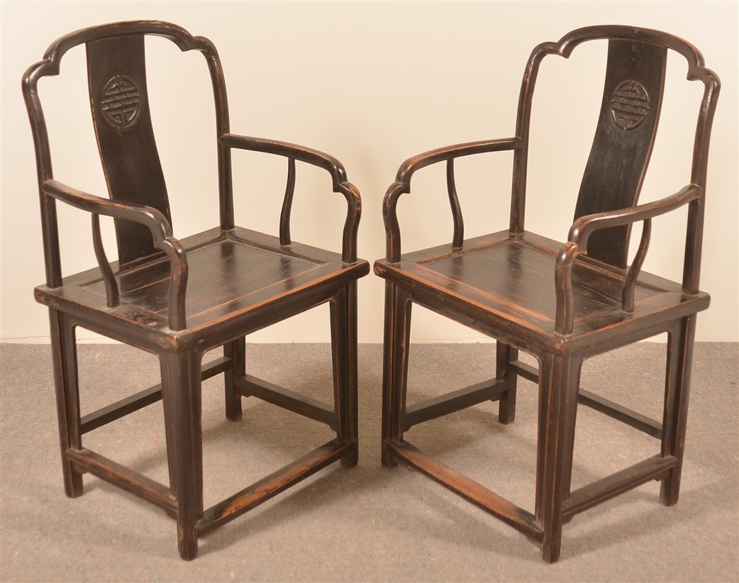 Pair of Antique Chinese Elmwood Armchairs.