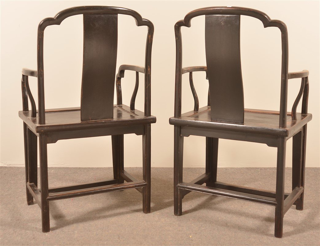 Pair of Antique Chinese Elmwood Armchairs. - 3