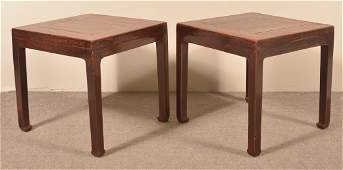 Pair of Antique Chinese Elmwood End Tables.