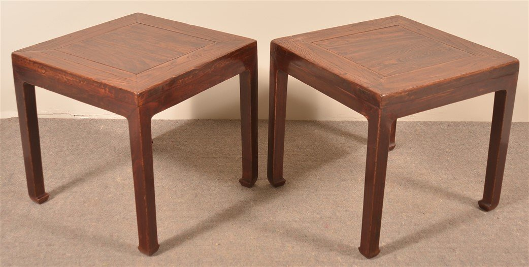 Pair of Antique Chinese Elmwood End Tables. - 2