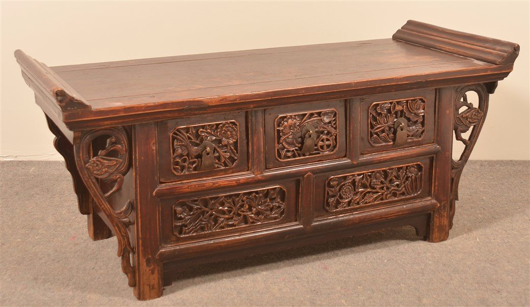 Chinese Carved and Lacquered Hardwood Bench.
