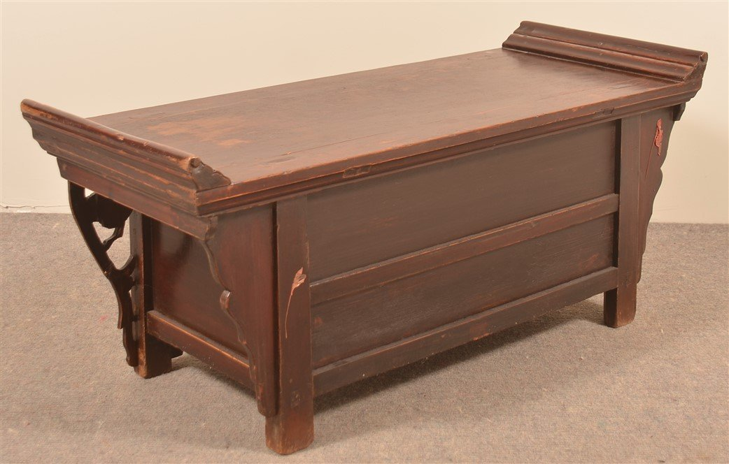 Chinese Carved and Lacquered Hardwood Bench. - 2