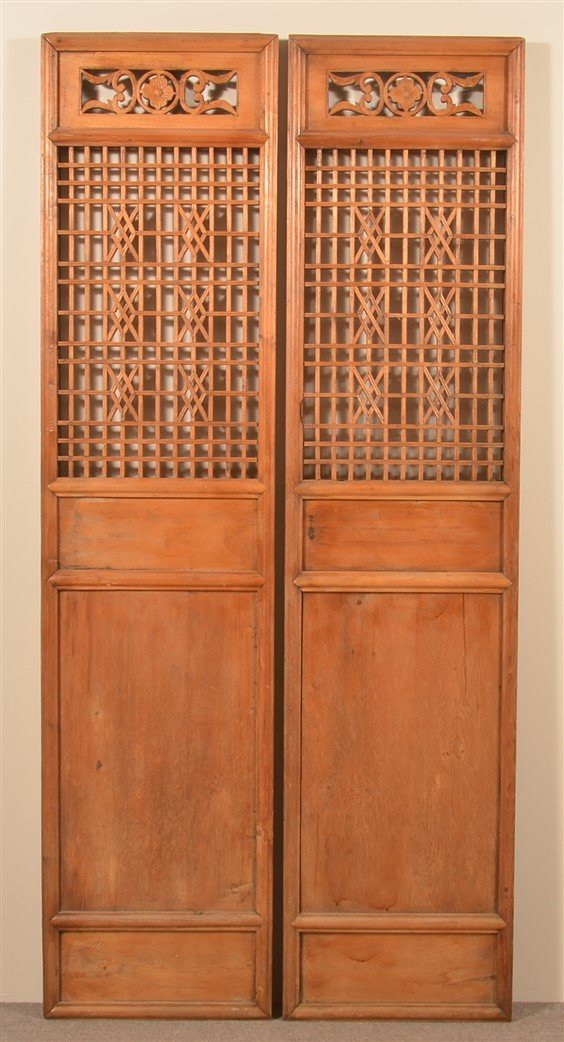 Pair of Antique Chinese Cypress Wood Doors.