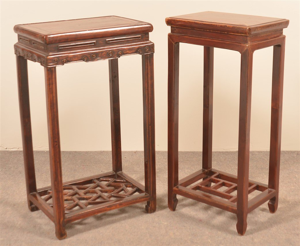 Two Vintage Chinese Lacquered Elmwood Stands.