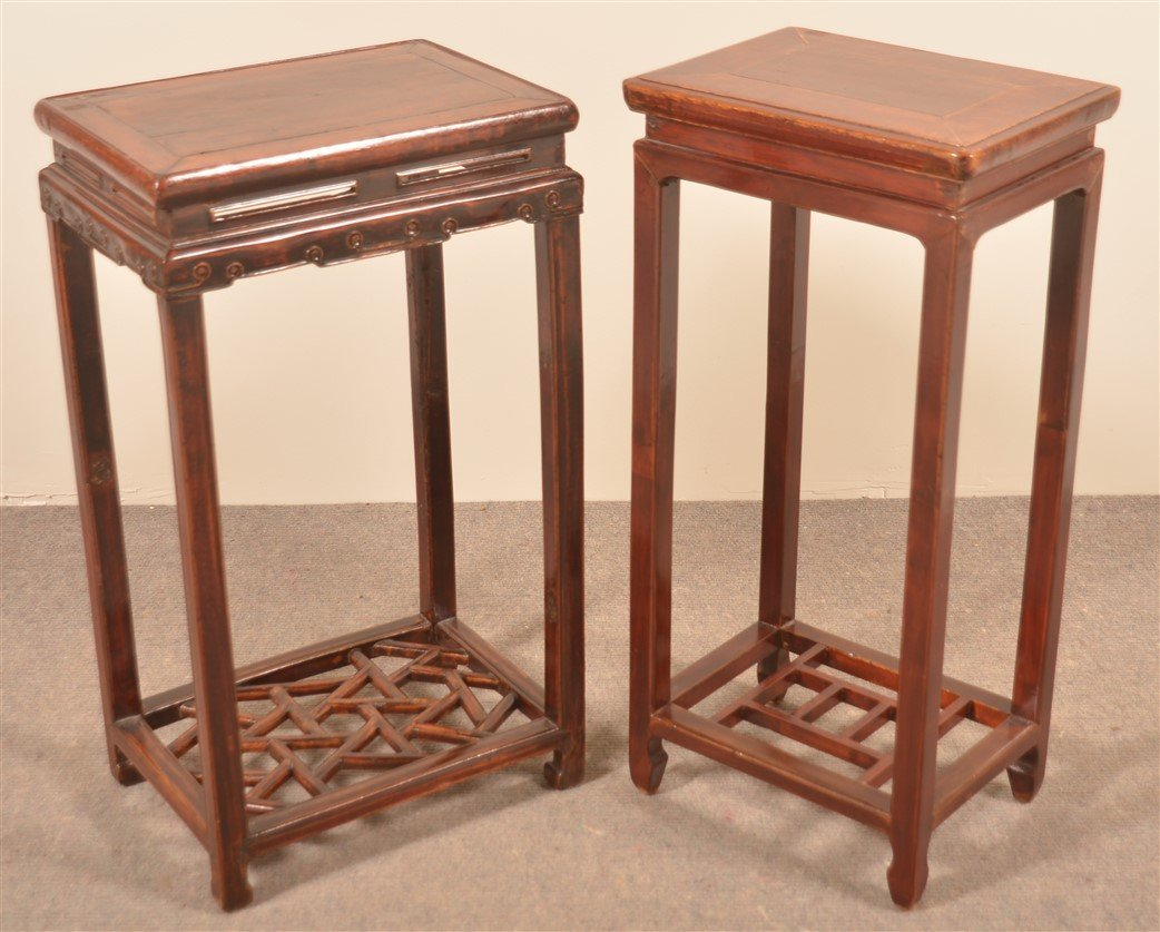Two Vintage Chinese Lacquered Elmwood Stands. - 2